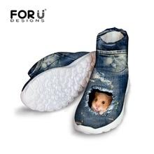 FORUDESIGNS Winter Shoes Woman 3D Jeans Denim Cat Girls Snow Boots Waterproof Australia Women Warm Ankle Boots For Female Cute