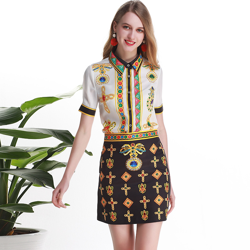 Chic Women's 2 Piece Set Vintage Shirts Mini Skirts High Quality Women's Retro Print Skirt Suit A232