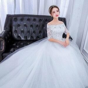 Image 2 - プラスサイズゴージャスなロング列車のウェディングドレスのレースビーズの夜会服の肩エレガントな花嫁ドレス高級ウェディングドレス