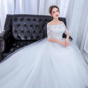 Image 2 - Plus Size Prachtige Lange Trein Trouwjurken Lace Kralen Baljurk Van De Schouder Elegante Bruid Jurken Luxe Bruidsjurken