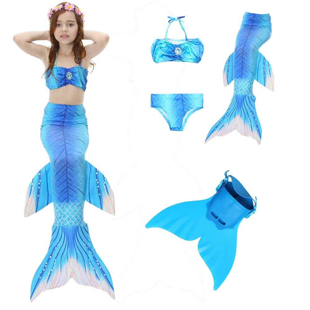 Mermaid Tail For Swimming 4pcs Girls Swimsuit And Monofin Set Swimmable Mermaid Tail Bathing Bikini Suit Flippers