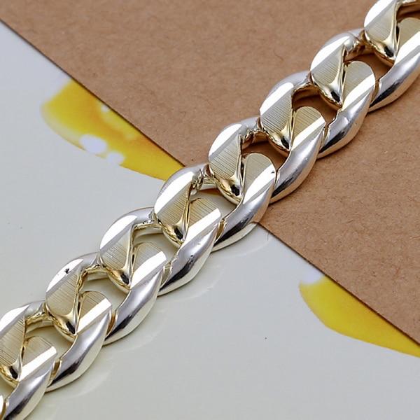 8950ef6e9 Fashion Bracelet Men Jewelry 925 Sterling Silver Jewelry 10mm Chain Texture  Cool Bracelets & Bangles Square Lock Bracelet -in Chain & Link Bracelets  from ...