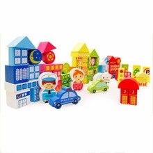 Crianças Imagens de Desenhos Animados de Aprendizagem de Tráfego Da Cidade Cena Bebê Brinquedos Tijolos Blocos de Construção de Brinquedos De Madeira Crianças De Madeira Empilhamento Básica