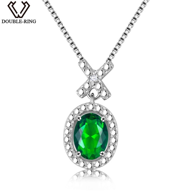 DOUBLE-R 925 Silver Created 1.2ct Emerald Gemstone Sapphire Ruby Pendant Necklac