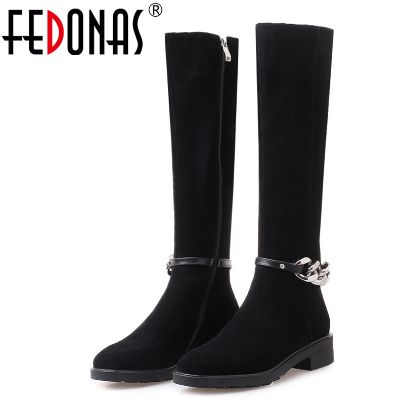 FEDONAS Brand Knee High Boots For Women Autumn Winter High Heels Long Warm Snow Shoes Woman