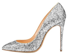 Amourplato Women's Pointed Toe Glitter Pumps Slip On Sexy Fashion Stiletto Party Wedding Dress Pumps Shoes Bling Silver Color