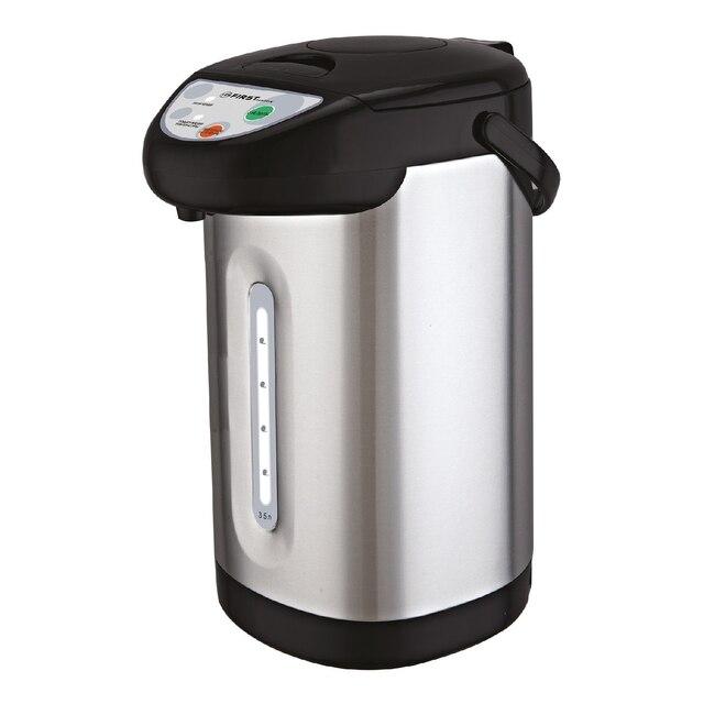 Термопот FIRST FA-5448-5 Stell (объем 3,5 л, мощность 900 Вт, 3 спопоба разлива воды, подача воды нажатием на кнопку, индикатор поддержания температуры)