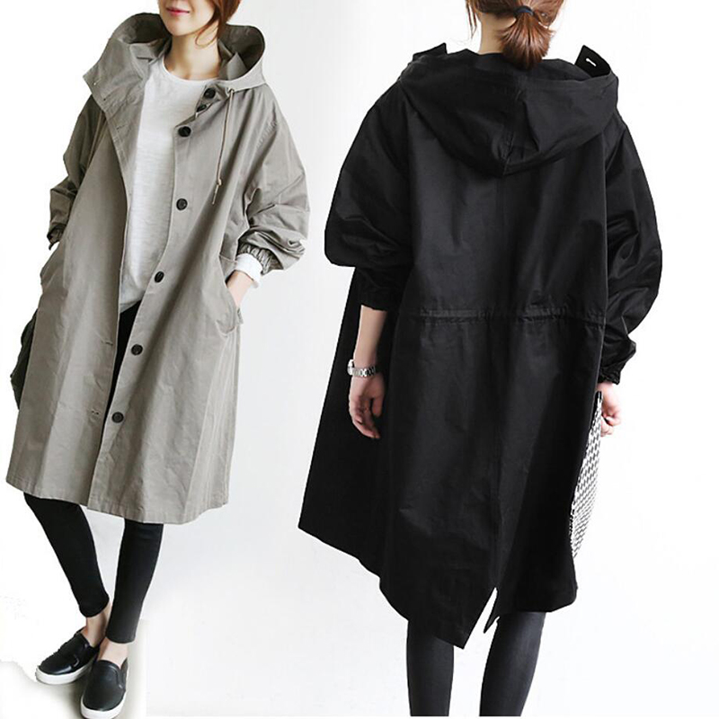 England Cotton Hood Long-Sleeved Single-Breasted Pocket Solid Color Straight Type Long Coat Coat Loose Windbreaker Free Shipping