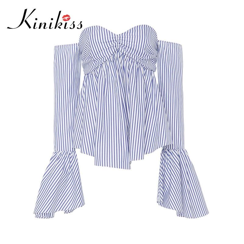 Kinikiss Women Blouses Shirts Blue Stripe Flare Long Sleeve Tube Tops Fashion Sexy Strapless Backless Beach Lady Blouse Shirt XL