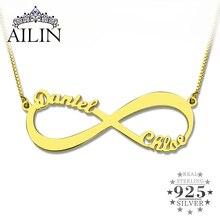Dos Nombre Personalizado Collar de Oro del Infinito Collar Nombre Collar Del Amor No Tiene Fin de Joyería de Amor Infinito