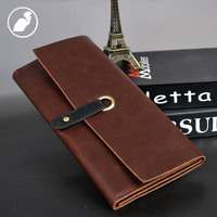 PUNKLADY New 2016 Men Famous Brands Cow Leather Vintage Preppy Style Purses Brown Standard Luxury Day