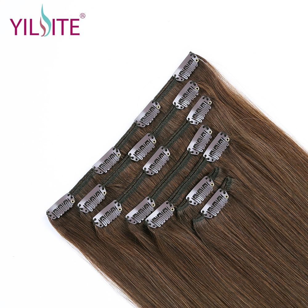 YILITE doble dibujado europeo remy cabello humano recto sedoso clip - Cabello humano (blanco) - foto 3