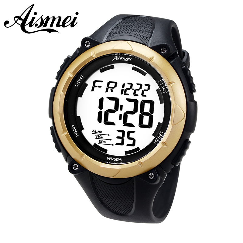 New fashion 2017 pria aismei olahraga jam tangan pria militer led menonton jam  karet jam tangan 12517670f4