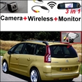 Wireless Receiver + 3 in1 Special Camera + Mirror Monitor Easy DIY Back Up Parking System For Citroen C4 Picasso