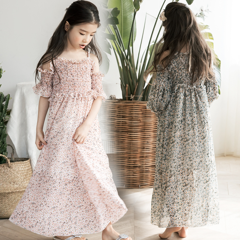 2018 New Girls Dress Baby Dresses Beach Bohemian Summer Floral Princess Party Long Sleeve Dress for Girls 7 8 9 10 11 12 13 14 long dress new fashion trend bohemian dress for girls beach tunic floral beach maxi dresses kids birthday party princess dresses