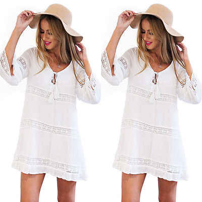 Women Summer Blouse White Loose Short Sleeve Tassel Bikini Beach Cover Ups Mini Dress Outfit Sundress Beachwear Bathing Sunsuit