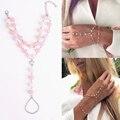 5017 2015 Boho Plateado Pink Crystal Cadena Simple Dedo Cadena Strand Pulsera de Múltiples Capas Del Brazalete Para Las Mujeres Joyería Fina