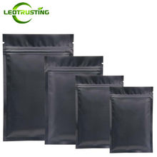 Leotrusting 100pcs Small Matt Black Aluminum Foil Ziplock Bag Metallic Mylar Black Zipper Bag Herbal Powder Sugar Food Packaging(China)