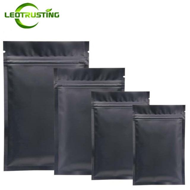Leotrusting 100pcs Small Matt Black Aluminum Foil Ziplock Bag Flat Bottom Metallic Mylar Black Zip Bag Herbal Fidget Spinner Bag