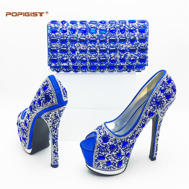 Royal Blue Italian Woman Shoes Shining Diamond Wedding Shoes Matching with Dinner  bags Beautiful New Design Sexy Shoe and bag 34e3cf8d6cb0