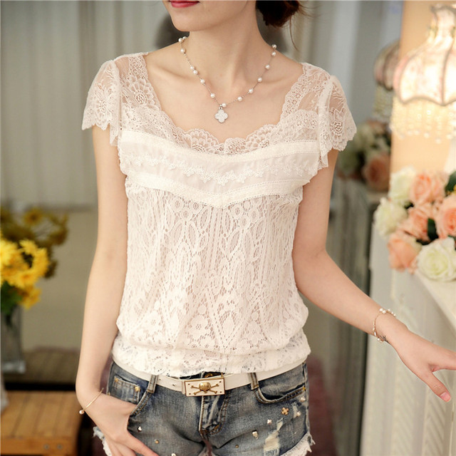 2ffdc159 € 8.06 9% de DESCUENTO|2019 verano nuevo estilo coreano blusa manga corta  sexy color sólido mujeres blanco encaje camisa 59F 25 en Blusas y camisas  ...