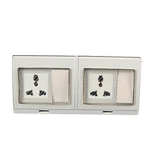 цена на Waterproof Wall Power Double Socket, Suitable for EU/UK/US/ Plug Universal Electrical Outlet Grounded With 2 Push Button Switch
