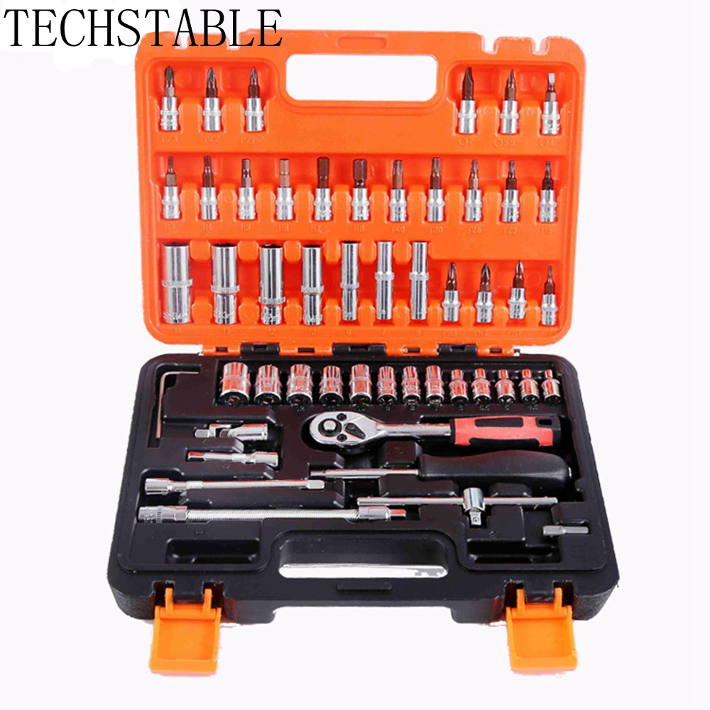 TECHSTABLE 53pcs Automobile Motorcycle Car Repair Tool Box Precision Ratchet Wrench Set Sleeve Universal Joint Hardware Tool Kit professional electric hair care styling automatic hair curler tools pro spiral curling irons magic plastic hair curler rollers