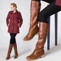 Плюс размер 35-42 Зима и осень Колен-Высокие ботинки женщин квадратный каблук 3.5 см теплый меховой зимняя обувь дамской одежды Мотоцикла сапоги