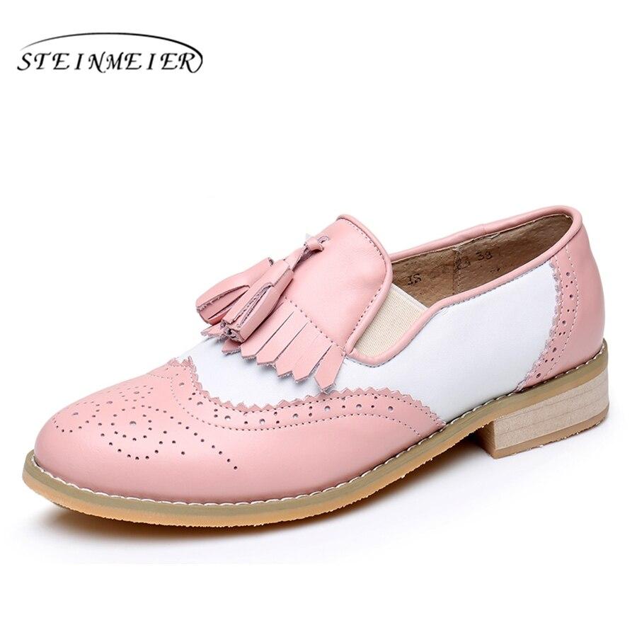 Echtes kuh leder brogue casual designer vintage dame wohnungen schuhe  handgemachte oxford schuhe für frauen rosa f92536747c