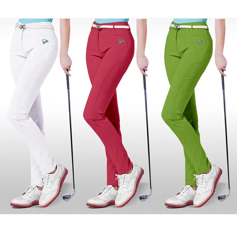 2017 new spring golf pants women sports trousers summer garment golf shorts elastic slim skinny long pants brand white 3 colors