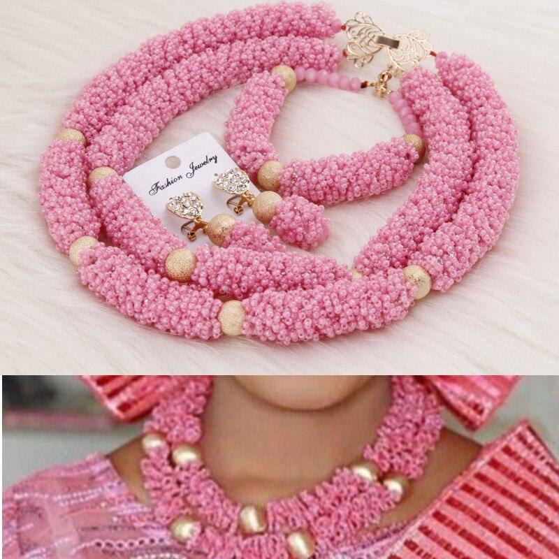 HTB19ZRKPhnaK1RjSZFBq6AW7VXa0 4UJewelry Peach Nigerian Wedding Set African Beads Big Design Bold Costume Choker Set Free Shipping Bridal Jewelry Set 2019 New