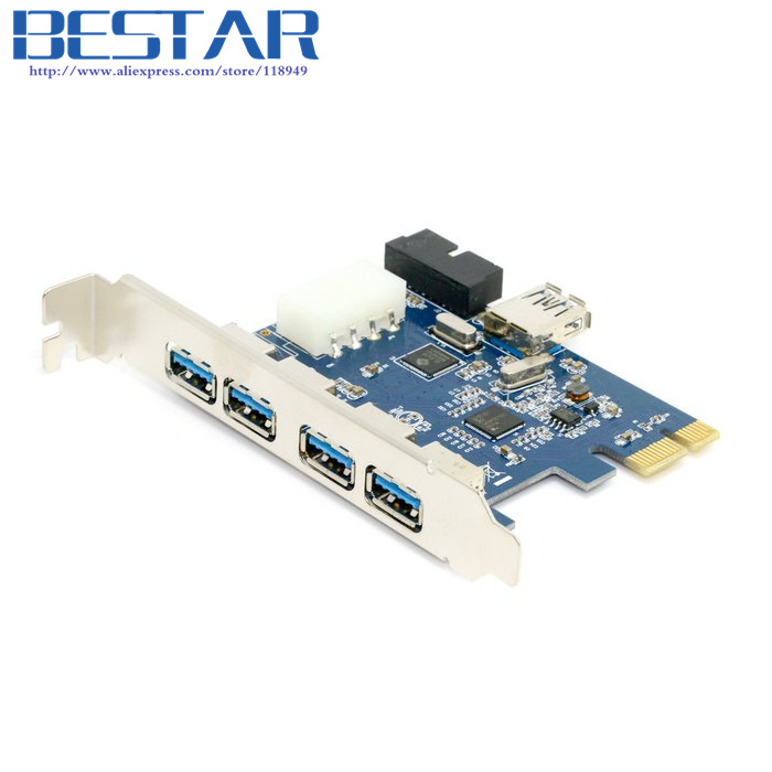 USB 3.0 PCI-E pcie pci express PCI 7 Port 5Gbps Super Speed Express Card Adapter 5Port + 20 Pin Controller