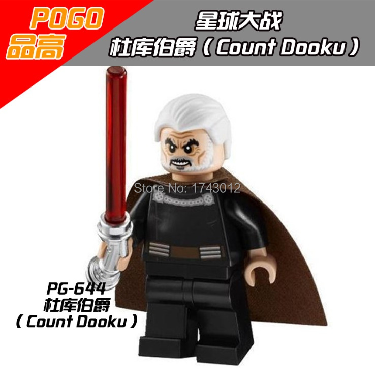 30pcs/lot Count Dooku 2013 SW472 PG644 Star Wars Red Lightsaber Mini Dolls Collection Building Block Best Children Gift Toy