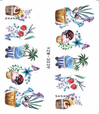 WUF 1 лист 2019 вкусные торт холодный лед для напитков крем для дизайна ногтей водная Наклейка для ногтей искусство декоративные наклейки маникюр