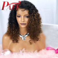 PAFF Ombre 150 Density Kinky Curly Full Lace Wig #1b30 Two Tone Color Brazilian Remy Human Hair Wig With Baby Hair Bleached Kont