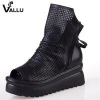 2017 Cut Outs Peep Toes Platform Women Summer Ankle Boots Genuine Leather Shoes Woman Sandals Black Double Zip