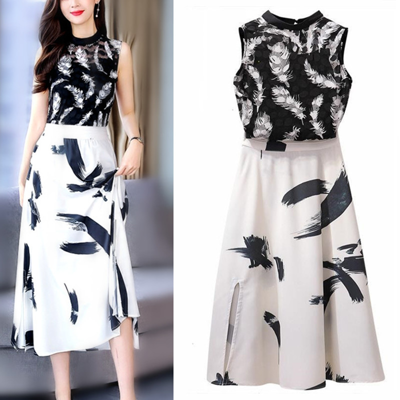 Work Wear Women's Suit Shirt Black White Lace Sleeveless Blouse Tops And Elegant Print Skirts Clothing Set Twinset NS994