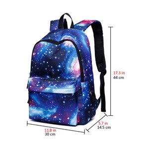 Image 2 - Erkekler tuval okul dizüstü sırt çantası Galaxy yıldız evren uzay USB şarj gençler için erkek öğrenci kızlar çanta seyahat Mochila