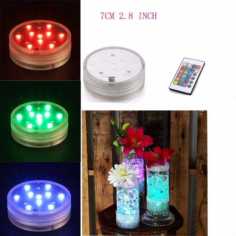 Inside Vase Lighting!!!(4 PCS/lot) Submersible LED Light Party Multicolor Glass Vase Base Decoration With Remote Control
