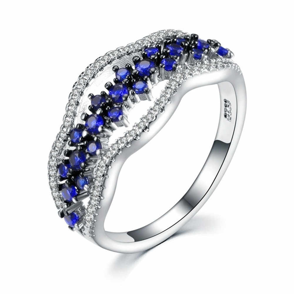 New Blue Crystal Rings For Women Multi Layer  Fashion Wedding Rings Jewelry Engagement Ring