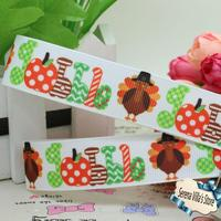 22mm girl material character promotion 7/8 Gobble Thanksgiving printed ribbon Hairbow Party De printed accessories