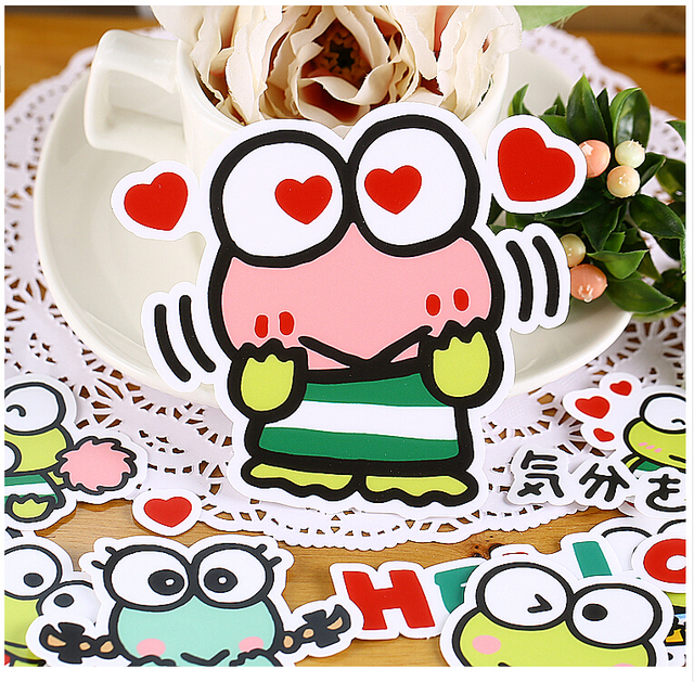 16pcs creative cute self madebig eyes frog luggage suitcase stickers
