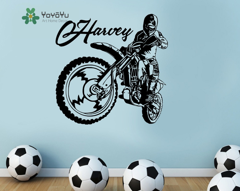 Motocross Motorbike Kids Personalised Any Name Wall Art Mural Decal Sticker Customized Name Wall Mural Art Decor NY 35 in Wall Stickers from Home Garden