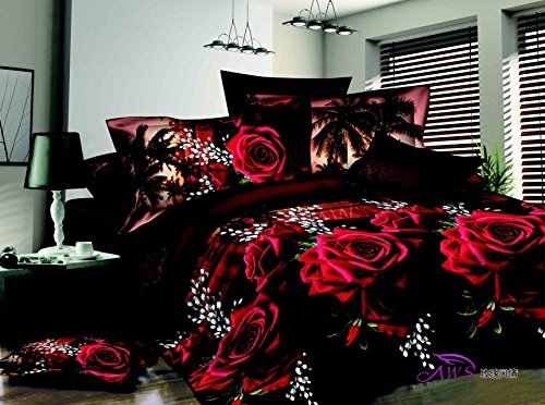 3D Red Rose Black Skin Floral Print Bedding Set Queen Size 3d Bedding Sets(Comforter Not Included)