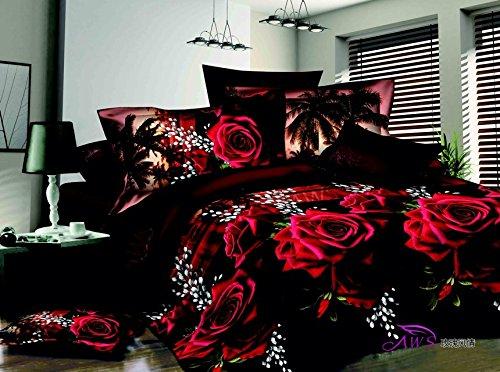 3D Red Rose Black Skin Floral Print Bedding Set Queen Size 3d Bedding Sets(Comforter Not Included)3D Red Rose Black Skin Floral Print Bedding Set Queen Size 3d Bedding Sets(Comforter Not Included)