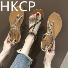 HKCP Sandals women summer 2019 womens shoes water drill flat sandals beach wear new clip-on student Roman style C045
