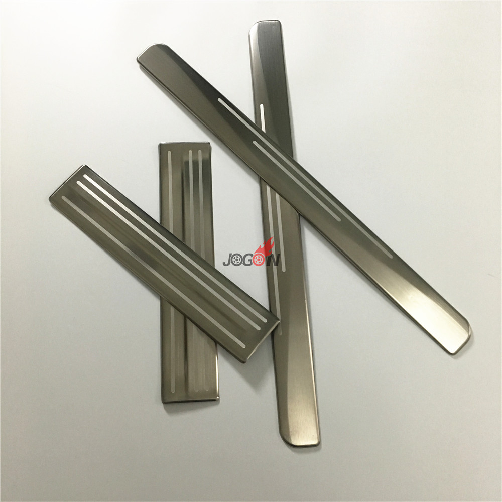 NEW!!! 4pcs Exterior Car Stainless Steel Door Sill Scuff Plate For NISSAN LEAF 2018 Stylish