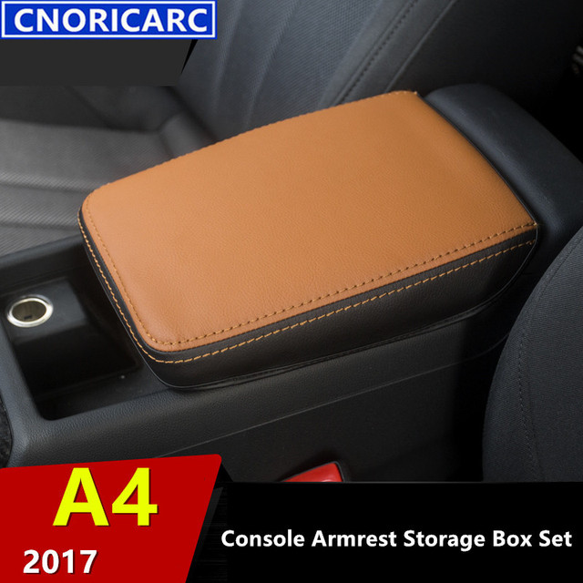 cLeather Console Armrest Box Decorative Protect Cover For Audi A4 2017 Car Anti-dirty Set Central Handrail Box Holster
