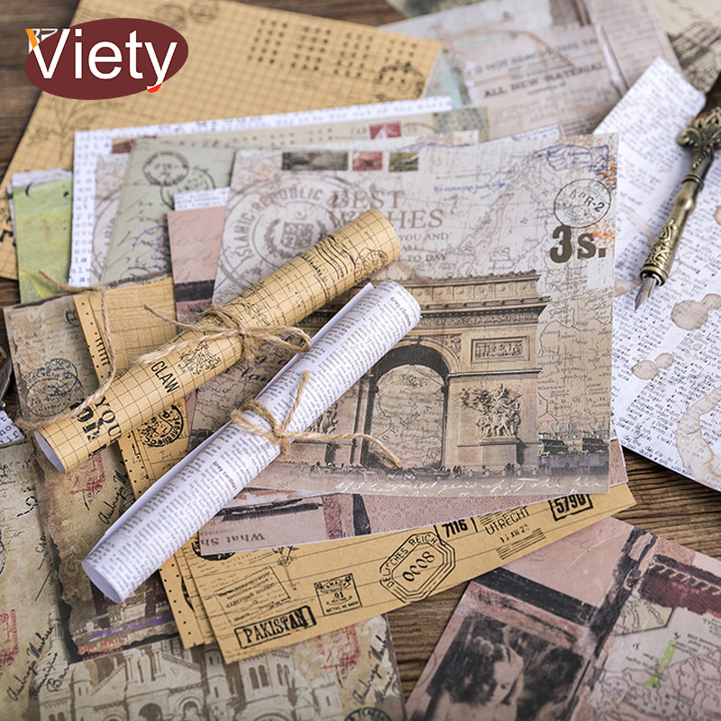 4 Sheet/Bag Vintage poster newspaper gift paper sticker DIY diary decoration sticker for planner album scrapbooking