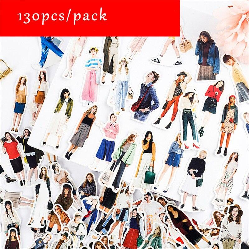 130pcs/lot Stickers Girls Kawaii Scrapbooking Sticker DIY Diary Decoration Fashion Girl Pegatinas For Laptop Notebook New Style